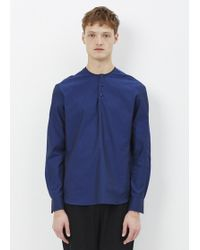 Curieux - Indigo Two Button Collarless Shirt - Lyst