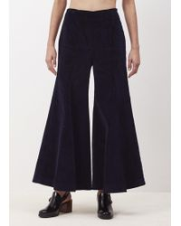 Xiao Li - Navy Cord Mid Bell Trousers - Lyst