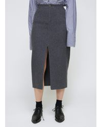 Dusan - Charcoal Double Front Slit Skirt - Lyst
