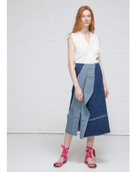 Zero + Maria Cornejo - Long Denim Foil Skirt - Lyst