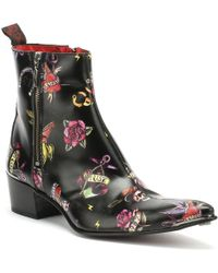 Jeffery West - Mens Tattoo Black Sylvian Double Zip Boots - Lyst