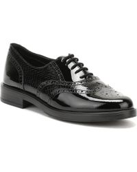 TOWER London - Womens Glazed Black Python Leather Lace Up Shoes - Lyst