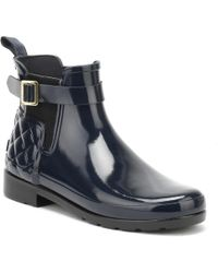 HUNTER - Original Womens Refined Gloss Quilted Navy Chelsea Boots - Lyst