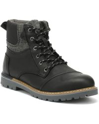 TOMS - Ashland Mens Black Leather Boots - Lyst