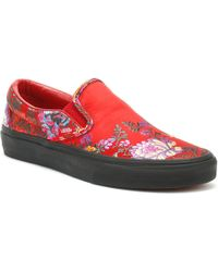 84c8dfd051b5 Vans - Classic Slip On Festival Satin Womens Red Trainers - Lyst