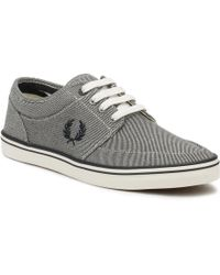 Fred Perry | Mens Porcelain Grey Stratford Printed Canvas Trainers | Lyst