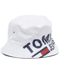 9bfc890497a Lyst - Tommy Hilfiger Logo Bucket Hat White in White for Men
