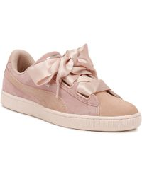 PUMA - Womens Peach / Pearl Heart Pebble Suede Trainers - Lyst