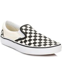 Vans - Classic Slip-on Black And White Checkerboard Canvas Trainers - Lyst