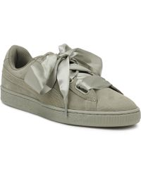 PUMA - Womens Rock Grey Heart Pebble Suede Trainers - Lyst