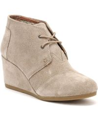TOMS - Womens Taupe Suede Desert Wedges - Lyst