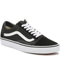 Vans - Old Skool Black White Canvas Sneakers - Lyst