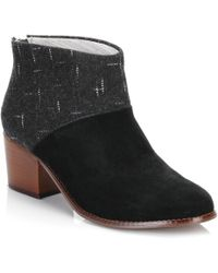 TOMS - Womens Black/dotted Wool Leila Bootie Ankle Boots - Lyst