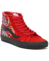 37c3258a9e Vans - Sk8-hi Reissue Festival Satin Womens Red Trainers - Lyst
