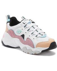 Skechers - D'lites 3 Zenway Womens White / Pink Trainers - Lyst