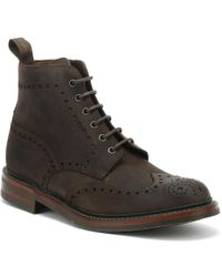 Loake Mens Dark Brown Waxy Bedale Brogue Boots