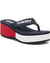 Tommy Hilfiger Tommy Jeans Colour Block Flatform Womens Rwb Flip Flops