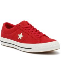 Converse - One Star Ox Womens Cherry Red Trainers - Lyst