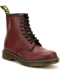 Dr. Martens - Dr. Martens 1460 Cherry Red Smooth Leather Ankle Boots - Lyst