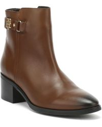 Tommy Hilfiger - Womens Coffee Brown Buckle Mid Heel Boots - Lyst