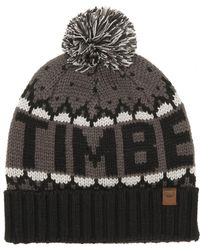 Timberland - Large Logo Bobble Beanie In Black/gray - Lyst