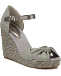145e9871f6b Tommy Hilfiger - Womens Light Grey Metallic Elena Wedge Sandals Women s  Sandals In Grey - Lyst