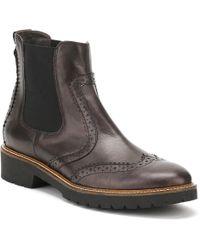Cara - Womens Coal Black Leather Sepia Brogue Chelsea Boots - Lyst