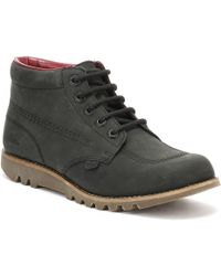 Kickers - Womens Black Leather Kick Hi Boots - Lyst