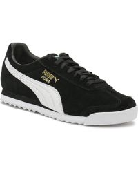 PUMA - Mens Black Suede Roma Trainers - Lyst