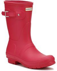 HUNTER - Original Womens Bright Pink Short Wellington Boots - Lyst