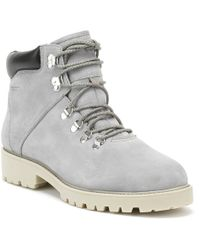 Tamaris Stone Calf Leather Stud Ankle Boot in Gray Lyst