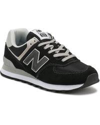 New Balance - Womens Black / White 574 Classic Trainers - Lyst