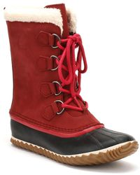 Sorel Womens Red Element / Black Caribou Slim Boots