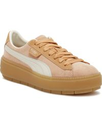 PUMA - Womens Dusty Coral Corduroy Trace Platform Sneakers - Lyst