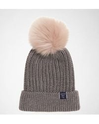 ba58000ae7e Superdry Aries Sparkle Fur Bobble Hat in Green - Lyst