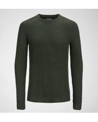Jack & Jones - Jack & Jones Jor Pannel Knit Crew Neck Forest Knight Jumpers & Cardigans - Lyst
