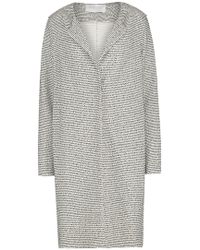 Harris Wharf London - Round Neck Pressed Boucle Coat In Black And White - Lyst