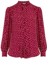 Rebecca Taylor - Long Sleeve Heart Tie Top In Crimson - Lyst