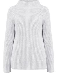 Vince - Button Sleeve Funnel Neck Jumper In Light Grey - Lyst
