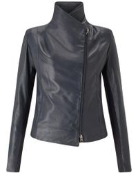 Trilogy - Leather Scuba Jacket In Navy - Lyst