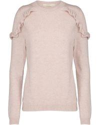 Jeff Knitwear - Clem Ruffle Shoulder Jumper In Pink - Lyst