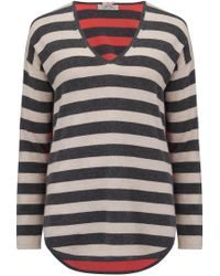 Cocoa Cashmere - V-neck Stripe Jumper In Oatmeal, Ash And Chilli - Lyst