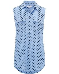 Equipment - Sleeveless Slim Signature Shirt In Aerial Blue And True Black - Lyst
