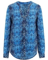 Trilogy - Lucille Blouse In Blue Snake Print - Lyst