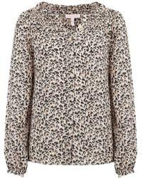 Rebecca Taylor - Leopard Print Silk Top In Caramel Combo - Lyst