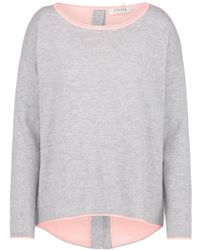 Cocoa Cashmere - Flared Button Back Jumper In Grey And Peach - Lyst