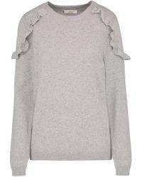 Jeff Knitwear - Clem Ruffle Shoulder Jumper In Grey - Lyst