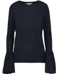 Autumn Cashmere - Crew Neck Jumper With Ruffle Sleeves In Navy - Lyst