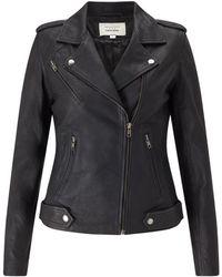 Trilogy - Leather Biker Jacket In Black - Lyst