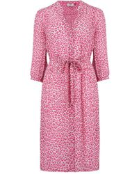 Pyrus - Frankie Dress In Pink And Grey Leopard - Lyst
